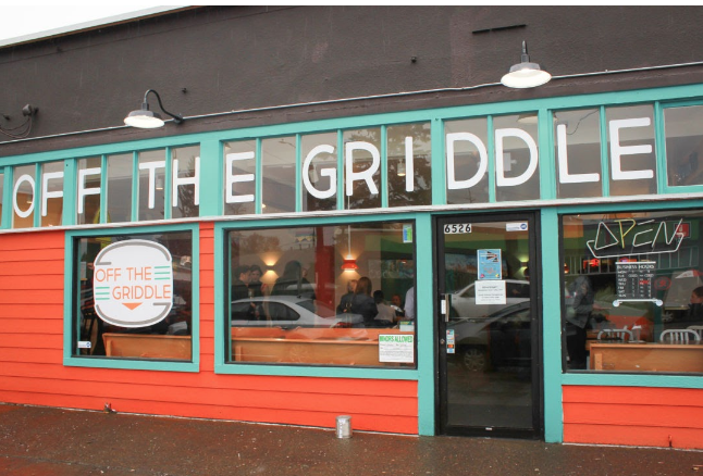 The storefront of Portland's Off the Griddle restaurant.